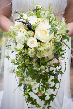 My beautiful wedding bouquet.  Wild shower bouquet or Roses, Lavender, Nigella, Ivy, Stocks, herbs and seasonal blooms. From the gorgeous Bramble and Wild- Floral Emporium