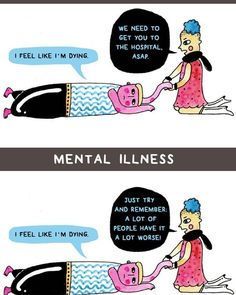 comics | How people treat mental illness vs. physical illness