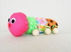 Stuffed animal caterpillar with wooden teething balls plush toy baby toy teething toy handmade pink