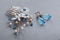 "Aquamarine Swarovski Haircomb & 14k Rosegold by JanaRoyaleDesign ""Something Blue"""