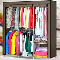 Portable Wardrobe storage - 66 Home Portable Wardrobe Cloth Hanger Rack Shelves Closet Storage Organizer.