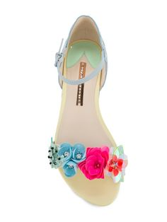 Shop Sophia Webster pastel floral embellished sandals.