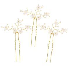 Gold flower wedding hair pins (x3) - 'Jasmine'