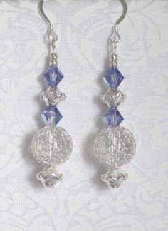 Silver wire net earrings with tanzanite Swarovski by CorbinGirl, $10.00