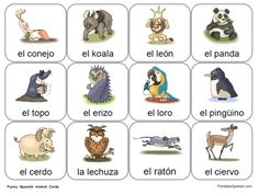 Fun Spanish Animal Cards available only at PrintableSpanish.com!