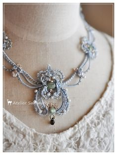 VK is the largest European social network with more than 100 million active users. Tatting Necklace, Tatting Jewelry, Lace Jewelry, Metal Jewelry, Diy Jewelry, Handmade Jewelry, Jewelry Making, Jewellery, Needle Tatting