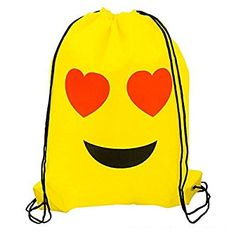 Amazon.com: 18 Pack of Emoji Drawstring 16 x 13 Inch Backpack Bags with Assorted Emoticons Perfect for Goody Bags, Party Favors & Back to School Supplies by Bottles N Bags: Toys & Games