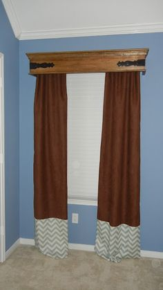 pier one shelf used as cornice box Wood Valances For Windows, Window Cornices, Wooden Windows, Window Coverings, Window Treatments, Bow Windows, Home Deco Furniture, Furniture Design, Handmade Furniture