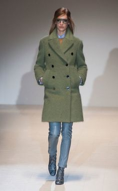@roressclothes clothing ideas #women fashion green coat, jeans, blue shoes Gucci Fall 2014 Runway Show