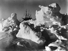 Ernest Shackleton's ship, Endurance, trapped in Antarctic pack ice, 1915.  Photograph by Frank Hurley