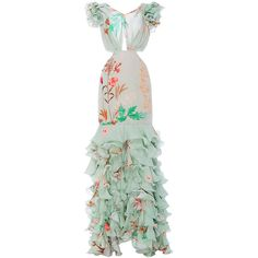 Johanna Ortiz Margherita Cutout Ruffled Dress ($3,550) ❤ liked on Polyvore featuring dresses, floral, gowns, johanna ortiz, ruffle, cutout dresses, floral print dress, green cut out dress, ruffle dress and flutter-sleeve dress