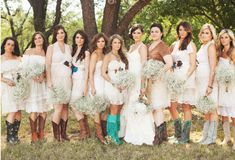 Big bunches of baby's breath.  Look at all the pictures on the site.  Some great rustic country stuff!  Love the engraved boots with monogram and wedding date!