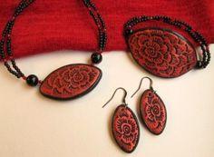 Textured Polymer Clay Jewelry Set by Riinu Valk