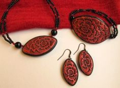 Textured Polymer Clay Jewelry Set by Riinu Valk