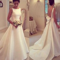 Cheap bridal gown, Buy Quality wedding dress bridal gown directly from China satin wedding dress Suppliers: Casamento 2016 A-line Satin Wedding Dresses Bridal Gown Court train vestidos de noiva blackless bridal gown with bow train Wedding Dress Train, Backless Wedding, Long Wedding Dresses, Bridal Dresses, Wedding Gowns, Prom Dresses, Dress Prom, 2017 Wedding, Bow Wedding