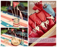 Final result of this pin board - The Decorations. So glad to have found all these ideas to help the party out. #navy #party #sailor #anchors