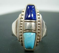 CAROLYN POLLACK RELIOS 925 STERLING SILVER BLUE LAPIS & TURQUOISE RING SIZE 10 #CAROLYNPOLLACK