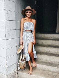 Summer outfit, perfect travel wear, touring clothes - strapless, stripes, flow, loose, cool
