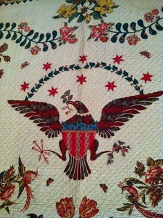 A Quilter by Night: Workt By Hand quilt exhibit at Brooklyn Museum, Medallion Quilt, c. 1830 by Elizabeth Welsh, West Virginia...~♥~