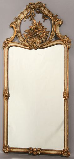 Finely Carved French Painted Gilded Mirror C1940