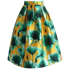 Chicwish Summer Lotus Printed Midi Skirt ($42) ❤ liked on Polyvore featuring skirts, yellow, knee length pleated skirt, green pleated skirt, mid-calf skirt, summer skirts and yellow midi skirt