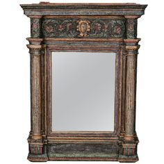 18th Century Italian Mirror with Original Blue Paint  Italy  Late 18th Century  Spectacular late 18th century Italian mirror is framed in classic architectural forms - fluted columns and a decorative pediment - with a blue and gilded finish. The mirror has been replaced, the frame and paint are original.