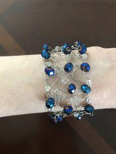 Ready To Ship Knitted Wire Bracelet Blue Bracelet Hand