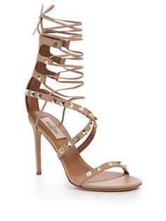 Valentino - Rockstud Leather Lace-Up Gladiator Sandals