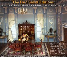 "Inspired by the legendary architect and designer Robert Adam, talented miniaturist Joan Dillon has created a stately yet inviting room that is richly appointed with Federal Period furniture.   As the Chippendale dining table and chairs as well as The Breakfront are built by The Ferd Sobol Editions, Joan says, ""I call it my Sobol dining room"" http://thesoboleditions.blogspot.com       www.SobolEditions.com"