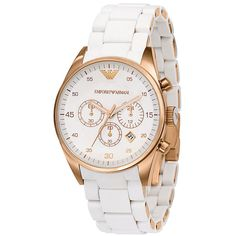 Emporio Armani Rose Gold Watch available at Emporio Armani, Giorgio Armani, Armani Rose Gold Watch, Modern Watches, Watches For Men, Sport Watches, Ladies Watches, Armani White, Accesorios Casual