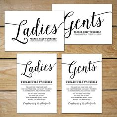 { Printable Bathroom Signs } Planning to assemble a complimentary bathroom basket for your guests? These printable bathroom signs make a great addition to your wedding! Simply download and print!  Purchase Includes: • Ladies Bathroom Sign, 2 versions • Gents Bathroom Sign, 2 versions  { DETAILS } ...Instant download printable ...sizes 4x6 and 5x7 inches ...PDFs fit 2 cards per letter page ...Colors: black and white ...See photo #2 for both versions  Each PDF is letter page size and fits 2…