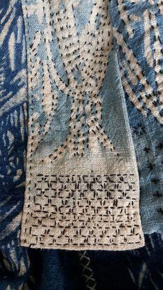 Sashiko stitching on indigo katazome, by Lena Palenius