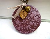 Big round eggplant and gold necklace - Lacy texture.Hand made out of cold porcelain.