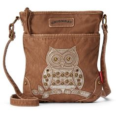 Unionbay Owl Applique Crossbody Bag (Brown) ($25) ❤ liked on Polyvore featuring bags, handbags, shoulder bags, brown, studded crossbody, brown crossbody purse, faux leather crossbody, owl crossbody purse and brown cross body purse