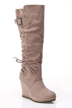 Taupe Wrap Boots.
