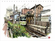Travel sketching Watercolor Sketch, Watercolor Illustration, Watercolor Paintings, Bus Art, Architecture Concept Drawings, Travel Drawing, Art Sketches, Art Drawings, Sketch Inspiration