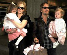 Nicole Kidman and Keith Urban with daughters, Sunday and Faith