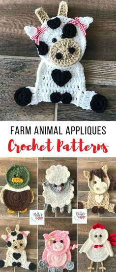 so many things you could put these farm animal crochet appliques on --blankets, hats, scarves...adorable crochet patterns #crochetanimals #crochetfarmanimals #crochetappliquepatterns #crochetpatterns #crochet #affiliate by joanne