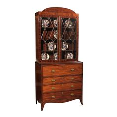 19th Century English Secretary in Mahogany with Domed Top | From a unique collection of antique and modern secretaires at…