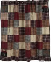 Ashfield Shower Curtain - patchwork primitive country bathroom shower curtain - $60