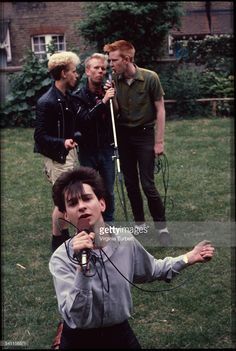 Depeche Mode in the grounds of Blackwing Studios, London, 17 June 1981. L-R (back) Martin Gore, Vince Clark, Andy Fletcher, (front) Dave Gahan.