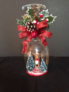 Christmas wineglass candle holder - reindeer by ImaginedByDonna on Etsy