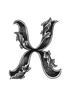 Leaf Script X Art Print