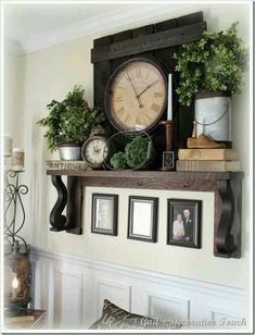 great idea for a fireplace mantle decor Rustic Decor, Farmhouse Decor, Farmhouse Style, Vintage Decor, Farmhouse Ideas, Farmhouse Fireplace, Vintage Room, Rustic Livingroom Ideas, Dining Wall Decor Ideas