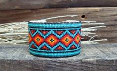 Southwestern Beaded Cuff Bracelet 2019 - Indian Blanket - Turquoise and Red Burst - by Desert Sage Bead Art - $300.00 - #CowgirlChic