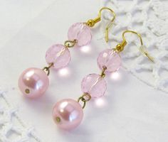 Pink pearl crystal drop earrings / prom earrings / by jewlerystar