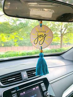 Car Hanging Accessories, Rear View Mirror Accessories, Car Accessories For Women, Car Rear View Mirror, Car Mirror, Cute Car Air Freshener, Jeep Wrangler Girl, Yellow Car, Wood Burning Art