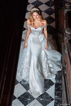 galia lahav bridal spring 2017 off shoulder sheath wedding dress (alexandra) mv peplum ball gown overskirt
