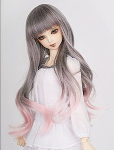 Fashion Doll: Kuafu 910 Inch 2224cm 13 BJDSD Doll Wig Fashion Cute Long Wavy Hair Wigs Grey to Pink * You can find out more details at the link of the image.