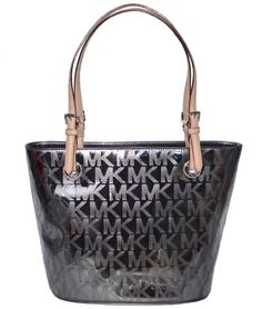 50d35bffa5a5 Michael Kors MK Mirror Metallic Item MD Tote Shoulder Bag Handbag Purse -  Nickel